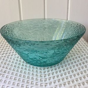 Vintage MCM Large Turquoise Glass Bowl